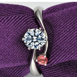 Sterling silver CZ and red sapphire open ring